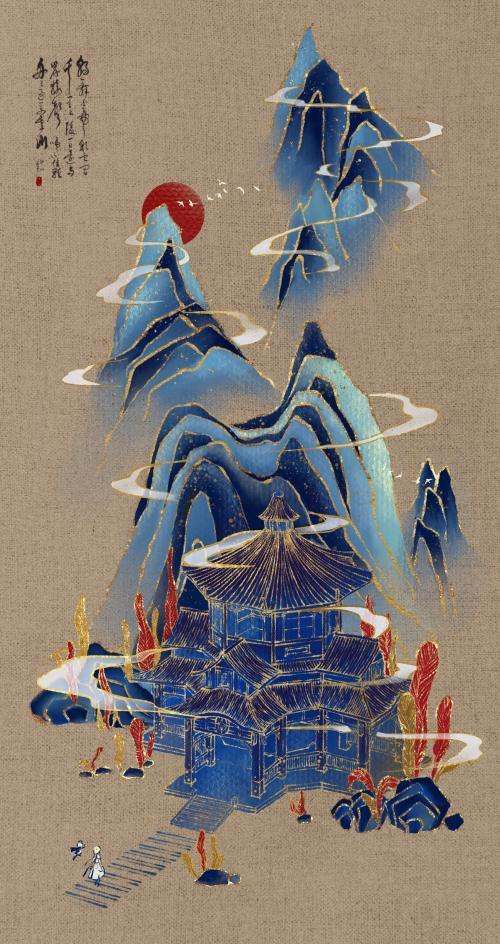 轻策谒金仙—轻策庄鎏金建筑画